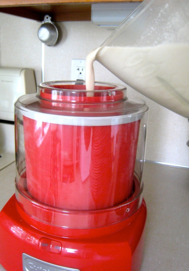 Whirring the minty blend until frozen